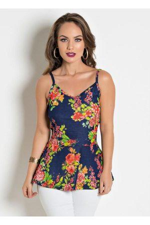 QUEIMA ESTOQUE Mulher Blusa - Blusa com Alças Floral Peplum