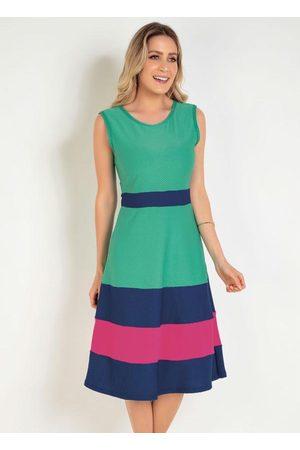 ROSALIE Mulher Vestido Médio - Vestido Tricolor Evasê Moda Evangélica