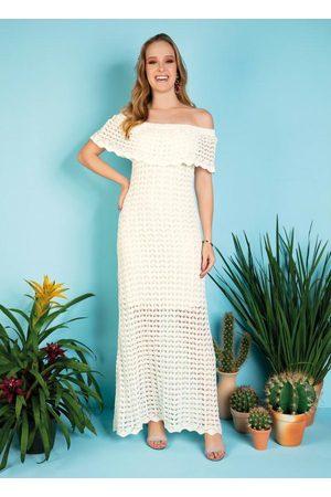 Janine Mulher Vestido Longo - Vestido Longo Off White com Babado no Decote