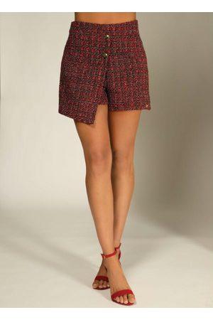 QUINTESS Mulher Minissaia - Short Saia em Tweed e Preto com Botões