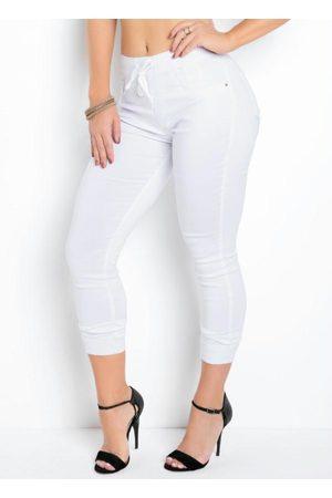 Sawary Jeans Mulher Calça de Alfataria - Calça Jogger Branca Sawary com Cadarço