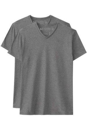 Basicamente Homem Camisolas de Manga Curta - Kit de 2 Camisetas Básicas Gola V