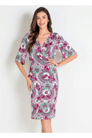 ROSALIE Vestido Tubinho Floral Étnico Moda Evangélica