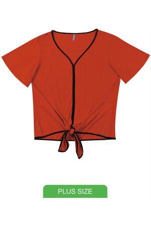 Cativa Plus Size Blusa Decote V com Amarração