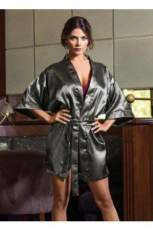 Alma Dolce Mulher Robe - Robe Chumbo com Mangas Curtas