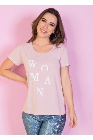 QUEIMA ESTOQUE T-Shirt Rose com Bordado Frontal