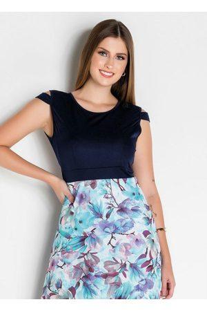 ROSALIE Vestido Floral Moda Evangélica Evasê