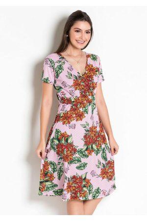 ROSALIE Vestido Moda Evangélica Floral com Transpasse