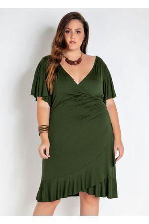 Mink Mulher Vestidos - Vestido Plus Size Envelope com Babado