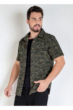 Actual Camisa em Sarja com Manga Curta Camuflada