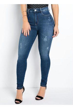 Sawary Jeans Mulher Calça Skinny - Calça Jeans Sawary Skinny 360° com Cinta e Puídos