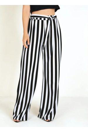 MODA POP Calça Pantalona Listrada e Amarração na Cintura