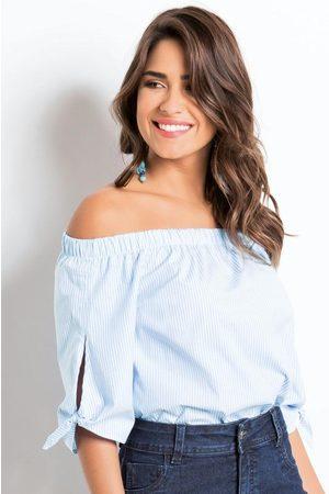 QUINTESS Mulher Blusa - Blusa Decote Ombro a Ombro e Amarração Listrada