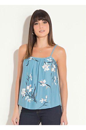 QUINTESS Mulher Blusa - Blusa de Alça com Pregas Orquídeas