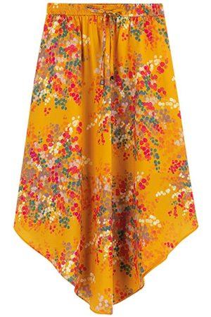 ENFIM Mulher Saia Estampada - Saia Amarela Mídi Floral Assimétrica