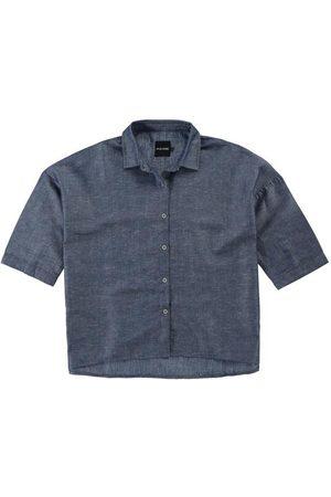 Malwee Mulher Camisa Manga Curta - Camisa Marinho Linho com Algodão