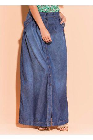QUINTESS Mulher Saia Longa - Saia Longa Jeans com Botões Frontais