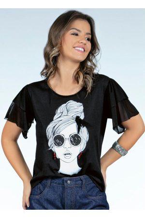 QUINTESS Mulher Blusas de Manga Curta - Blusa Preta com Mangas de Babado em Tule