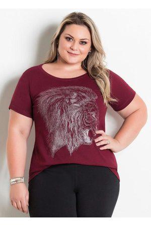 Marguerite Mulher Camiseta - T-Shirt Bordô com Estampa Frontal