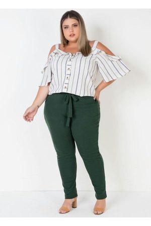 Mink Mulher Calça Cintura Alta - Calça Plus Size com Amarração Fixa Frente