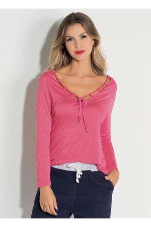 QUINTESS Mulher Blusa - Blusa Pink com Tiras no Decote