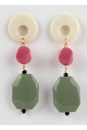 Mink Brinco Rosa e Verde com Metal Dourado