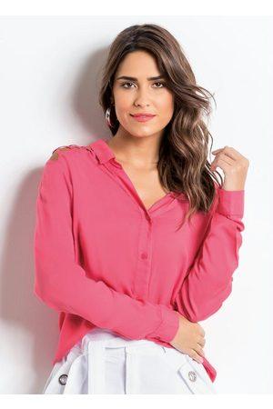 QUINTESS Mulher Camisa Casual - Camisa com Ombros Vazados Pink