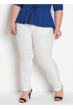 Marguerite Mulher Calça de Alfataria - Calça Sarja Branca com Elastano Plus Size