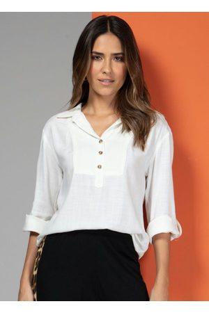 QUINTESS Mulher Camisa Manga Curta - Camisa em Tecido Off White Mangas 7/8