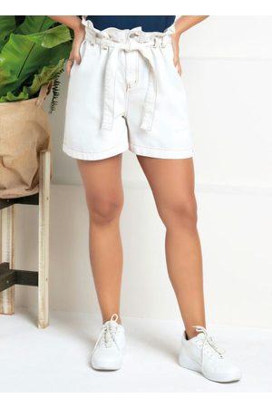 Quintess Mulher Short - Shorts de Sarja Clochard com Faixa