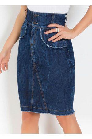 QUEIMA ESTOQUE Saia Moda Evangélica com Recortes Jeans Escuro