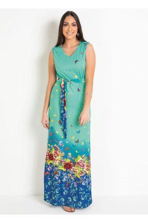 ROSALIE Vestido Longo Floral Barrado Moda Evangélica