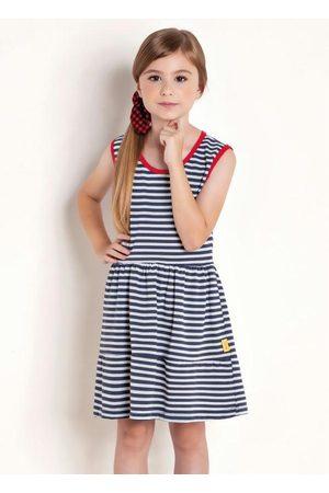 QUEIMA ESTOQUE Menina Vestido Estampado - Vestido Infantil Listrado com Recortes