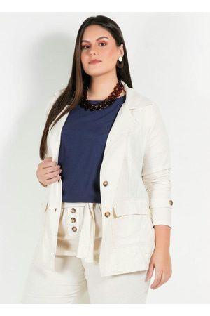 Mink Mulher Blazer - Blazer Plus Size com Bolsos