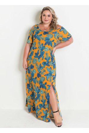 Marguerite Vestido Longo Folhagem Plus Size com Ombros Vaza