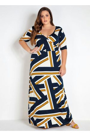 Mink Mulher Vestido Longo - Vestido Plus Size Geométrico Transpassado