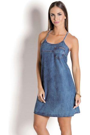 Sawary Jeans Mulher Vestidos - Vestido com Alças e Bolso Frontal