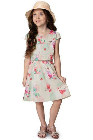 CARINHOSO Menina Vestido Estampado - Vestido Claro Estampado em Satin