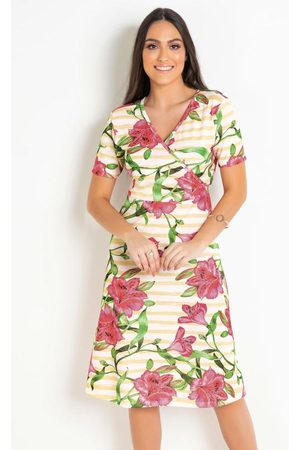 ROSALIE Vestido Evasê Floral Moda Evangélica