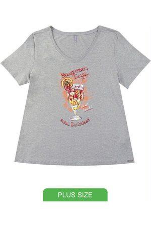 Cativa Plus Size Blusa em Viscose com Estampa