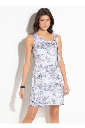 QUEIMA ESTOQUE Mulher Vestidos - Vestido Quintess Tigres com Decote Assimétrico