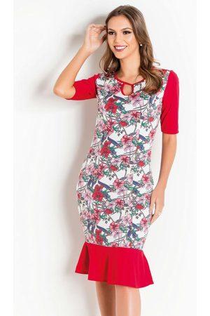 QUEIMA ESTOQUE Mulher Vestido Estampado - Vestido com Babado Floral Moda Evangélica