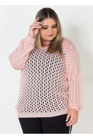 Mink Blusa Plus Size de Tricot Aberto
