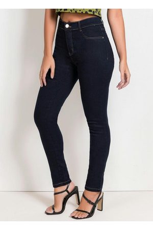 Sawary Jeans Mulher Calça Legging - Calça Hot Pants Legging Jeans Escuro Sawary