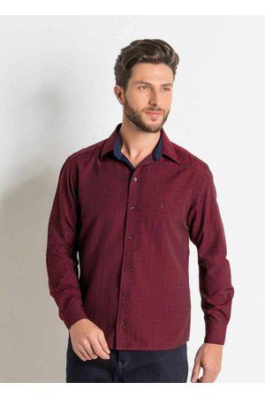Actual Camisa Social Bordô em Tricoline
