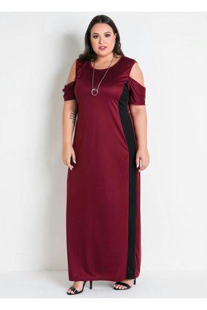 Marguerite Vestido Longo Bordô e Preto Plus Size