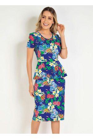 ROSALIE Mulher Vestido Estampado - Vestido Peplum Floral Moda Evangélica