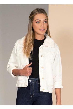 QUINTESS Mulher Jaqueta Jeans - Jaqueta Jeans Off White