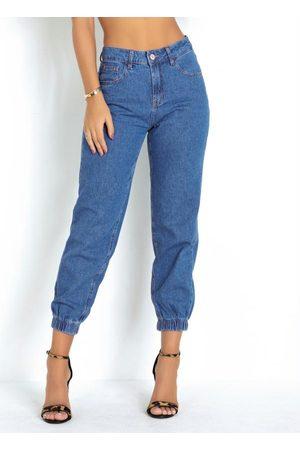 Sawary Jeans Mulher Calça Jogger - Calça Jeans Jogger Sawary com Bolsos Funcionais