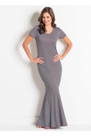 QUEIMA ESTOQUE Mulher Vestido Longo - Vestido em Jacquard Geométrico Moda Evangélica